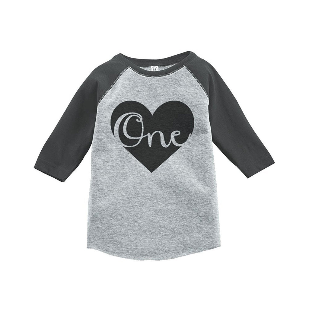 7 ate 9 Apparel Boy's First Birthday Vintage Baseball Tee 2T Grey and Black