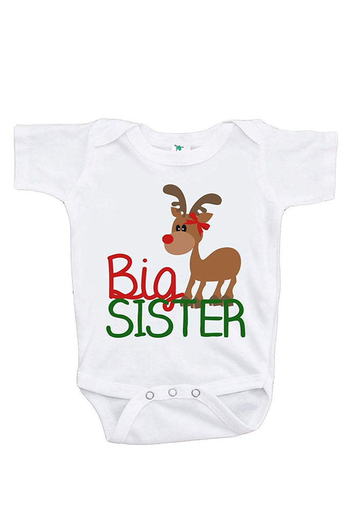 7 ate 9 Apparel Baby's Big Sister Christmas Onepiece