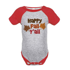 7 ate 9 Apparel Baby's Happy Fall Y'all Thanksgiving Onepiece