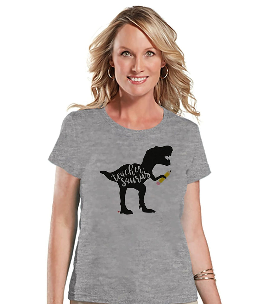 7 ate 9 Apparel Womens Teachersaurus Dinosaur T-shirt