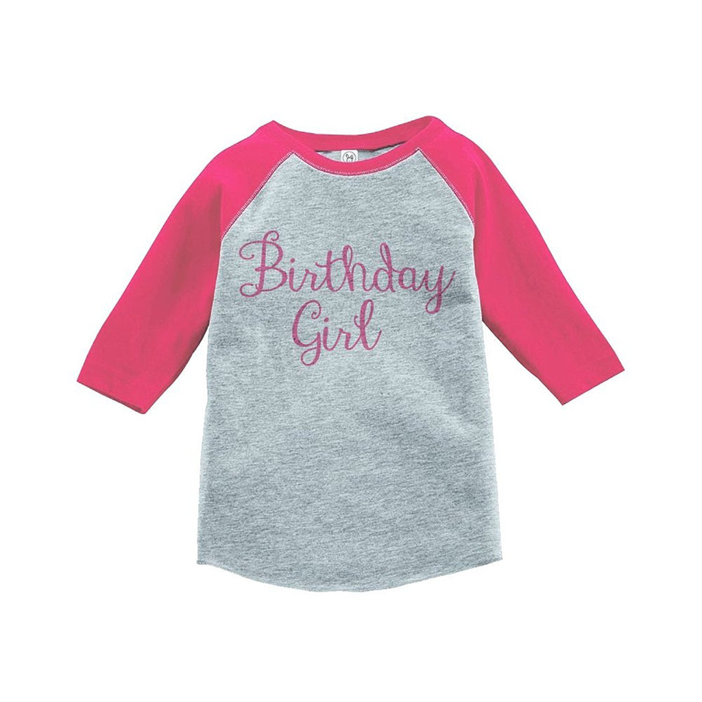 7 ate 9 Apparel Girls' Birthday Girl Vintage Baseball Tee 2T Grey and Pink