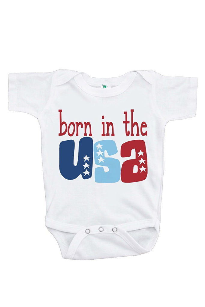 7 ate 9 Apparel Baby's Born in the USA 4th of July Onepiece