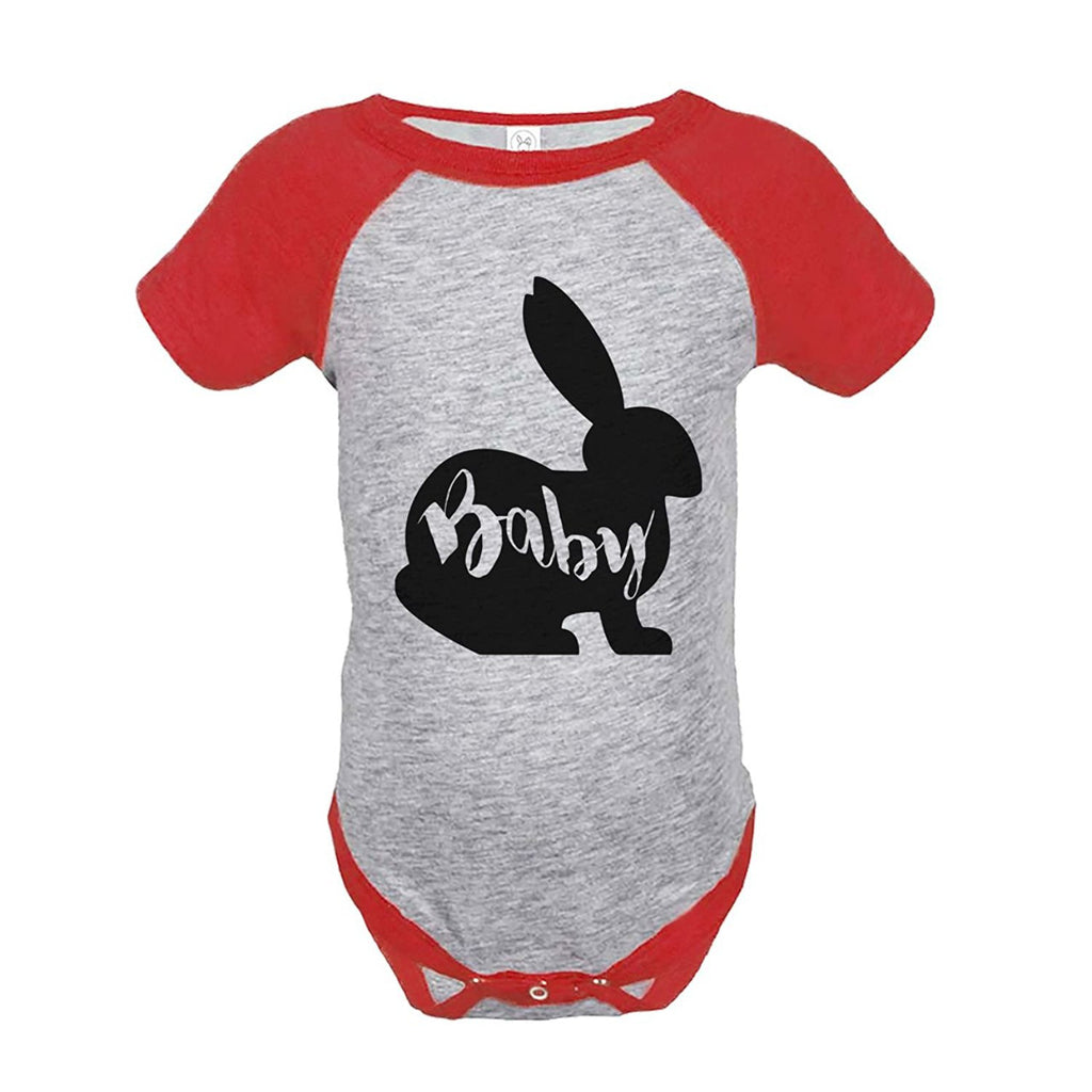 7 ate 9 Apparel Baby's Baby Bunny Happy Easter Red Onepiece