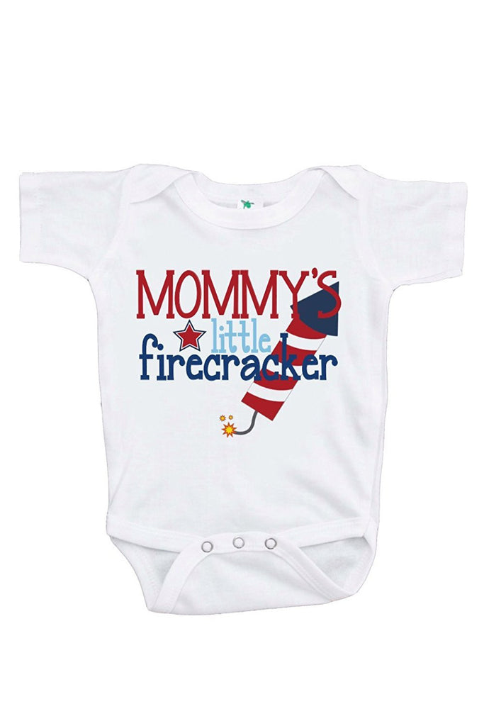 7 ate 9 Apparel Baby's Mommy's Firecracker 4th of July Onepiece