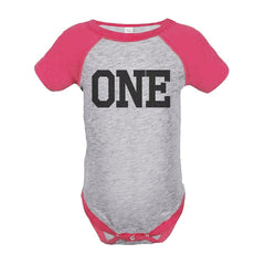 7 ate 9 Apparel Girl's First Birthday One Vintage Baseball Tee Onepiece
