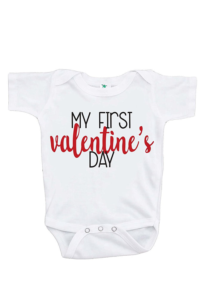 7 ate 9 Apparel Baby's My First Valentine's Day Onepiece