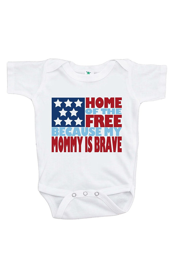 7 ate 9 Apparel Baby's Mommy is Brave 4th of July Onepiece