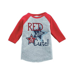 7 ate 9 Apparel Girl's Red White & Cute 4th of July Raglan Tee