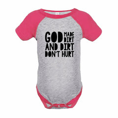 7 ate 9 Apparel Funny Kids God Made Dirt Baseball Onepiece Pink