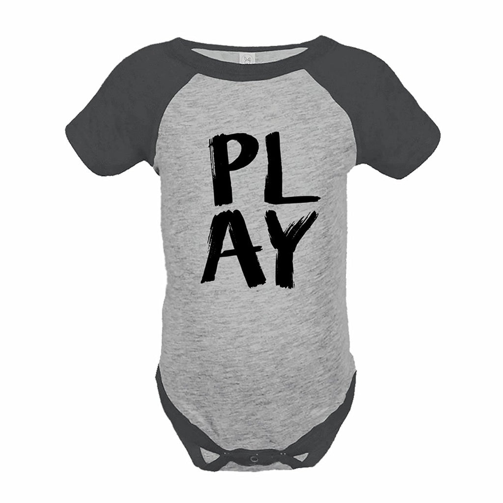 7 ate 9 Apparel Funny Kids Play Baseball Onepiece Grey