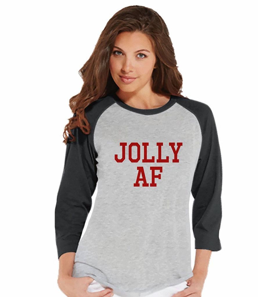 7 at 9 Apparel Women's Jolly AF Christmas Raglan Tee