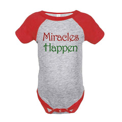7 ate 9 Apparel Baby's Miracles Happen Christmas Onepiece Red
