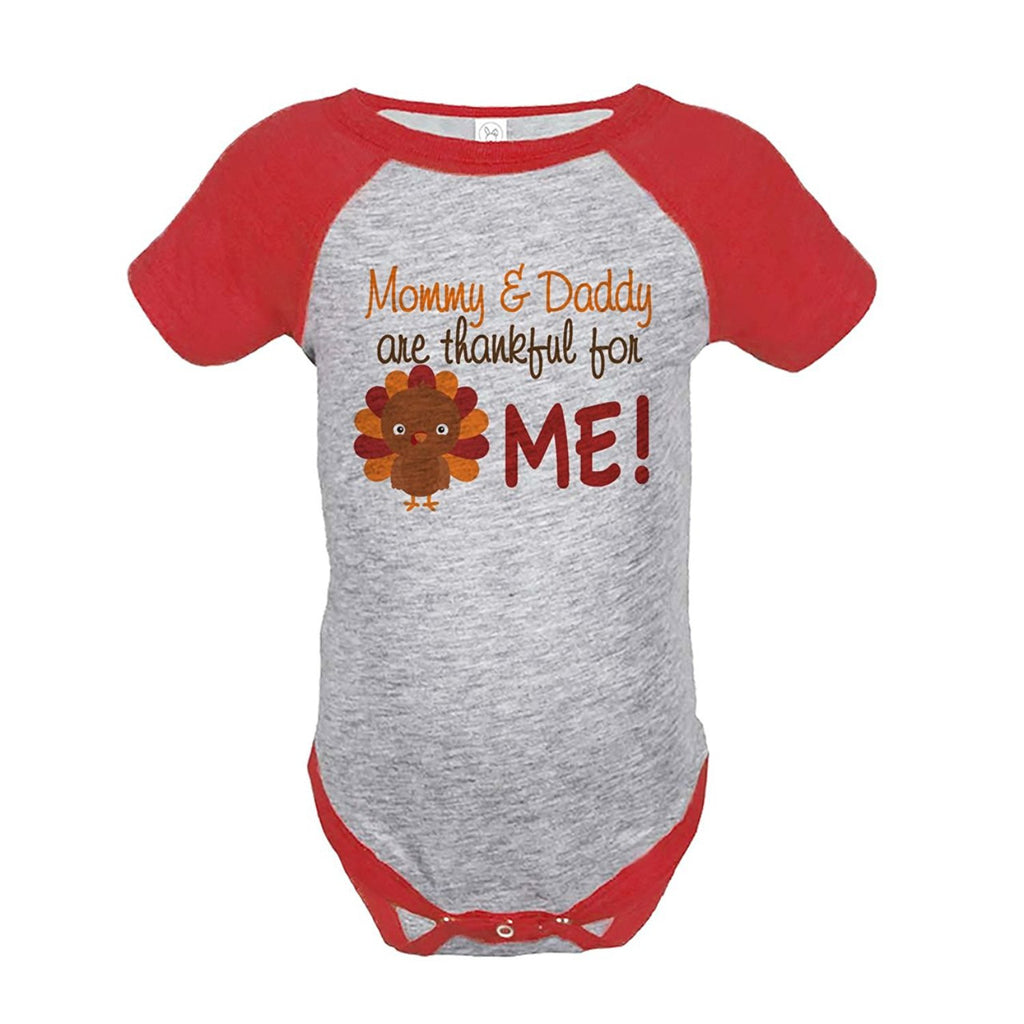 7 ate 9 Apparel Baby Boy's Thankful For Me Thanksgiving Onepiece