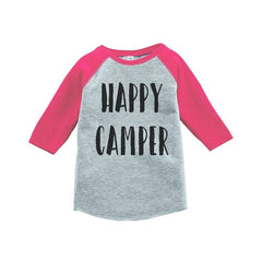 7 ate 9 Apparel Girl's Happy Camper Outdoors Raglan Tee