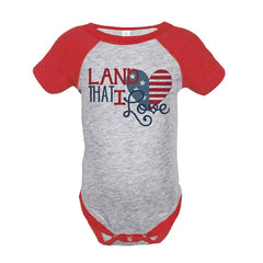 7 ate 9 Apparel Land That I Love 4th of July Raglan Onepiece