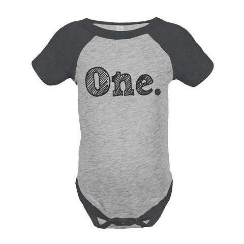 Custom Party Shop Boy's First Birthday Vintage Baseball Tee Onepiece