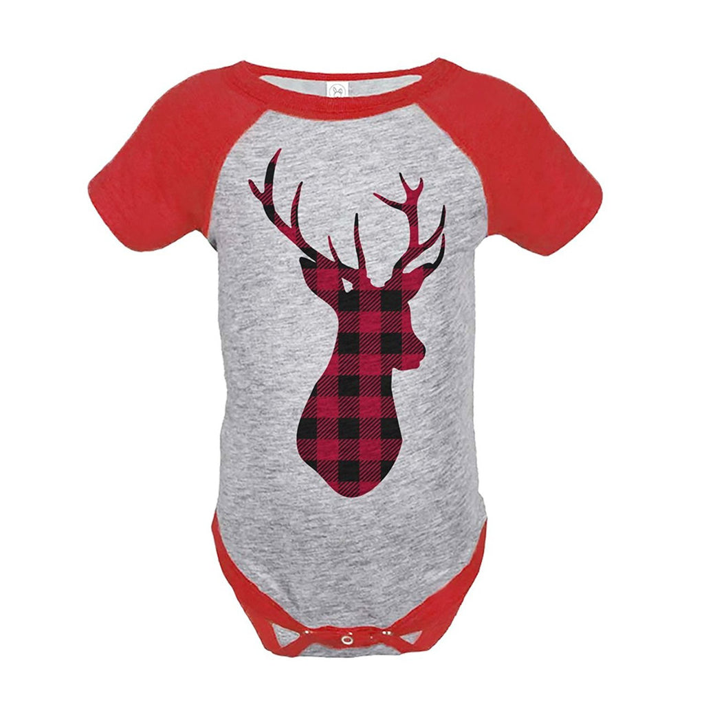7 ate 9 Apparel Baby's Plaid Deer Christmas Onepiece Red