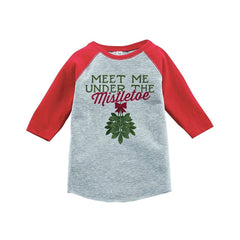 7 ate 9 Apparel Youth Meet Me Under The Mistletoe Christmas Raglan Shirt Red