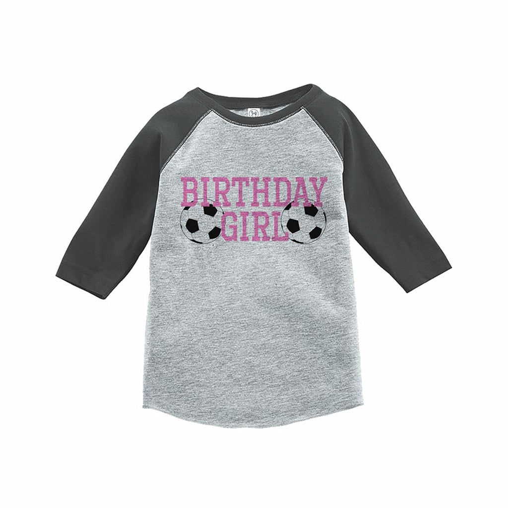 7 ate 9 Apparel Girl's Soccer Birthday Grey Raglan Tee
