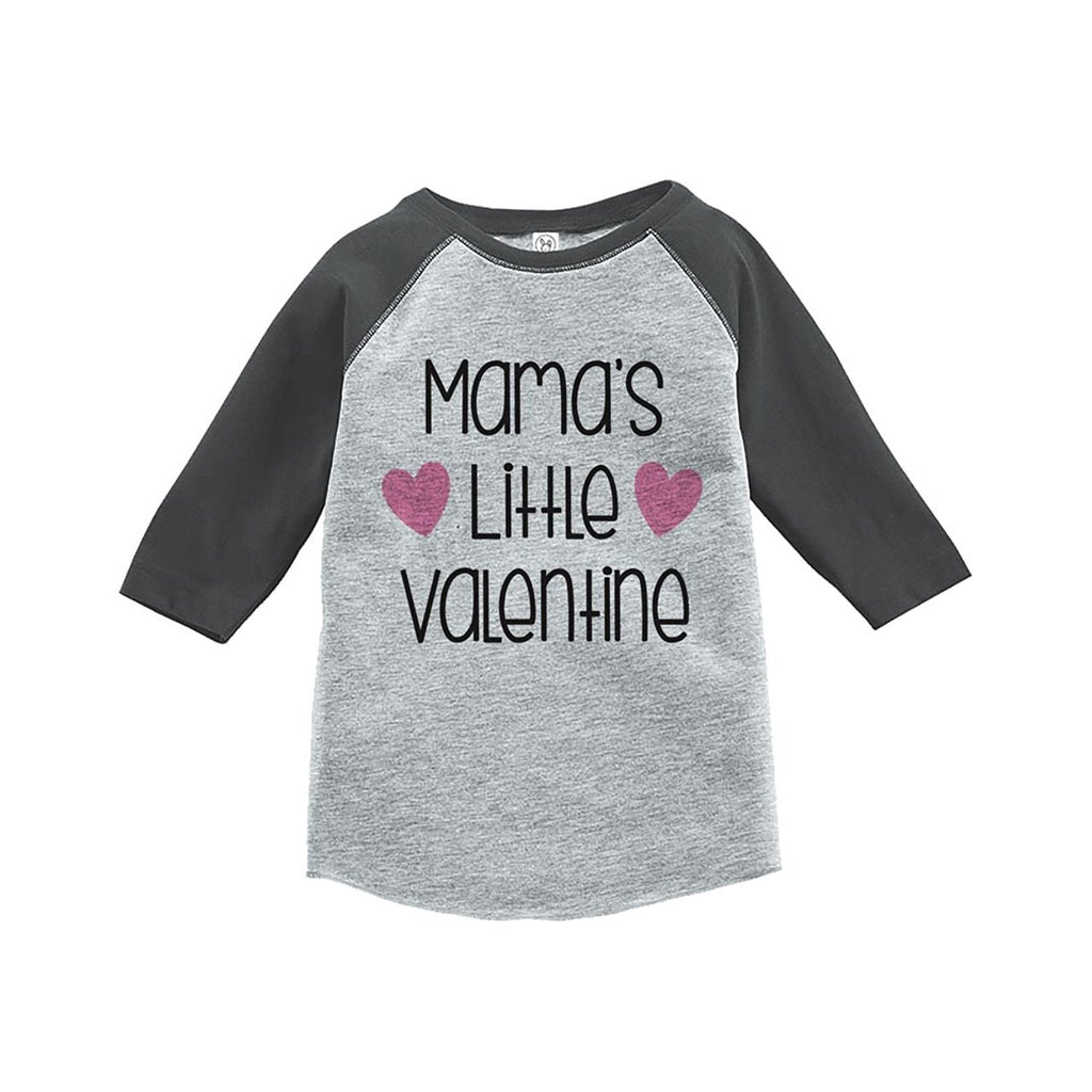 7 ate 9 Apparel Girl's Mama's Little Valentine's Day Grey Raglan