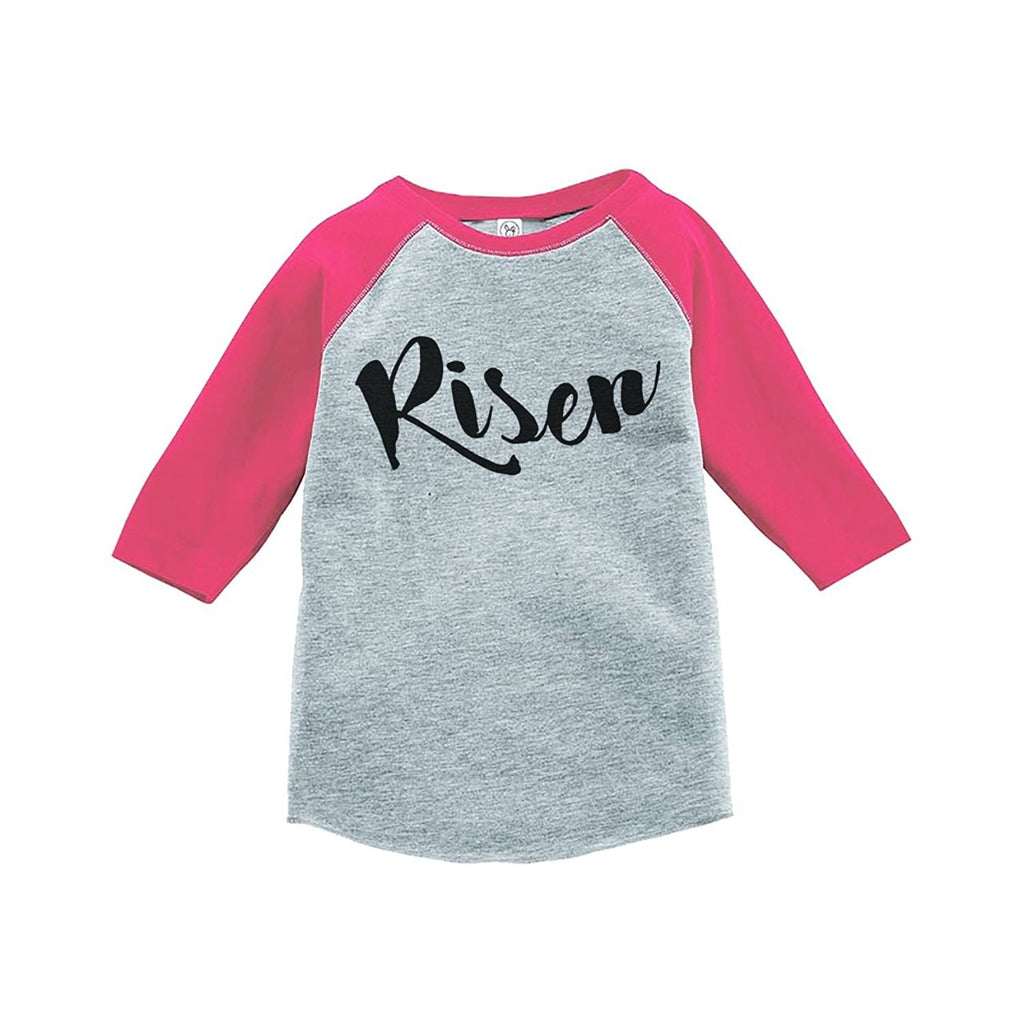 7 ate 9 Apparel Baby's Risen Happy Easter Pink Raglan