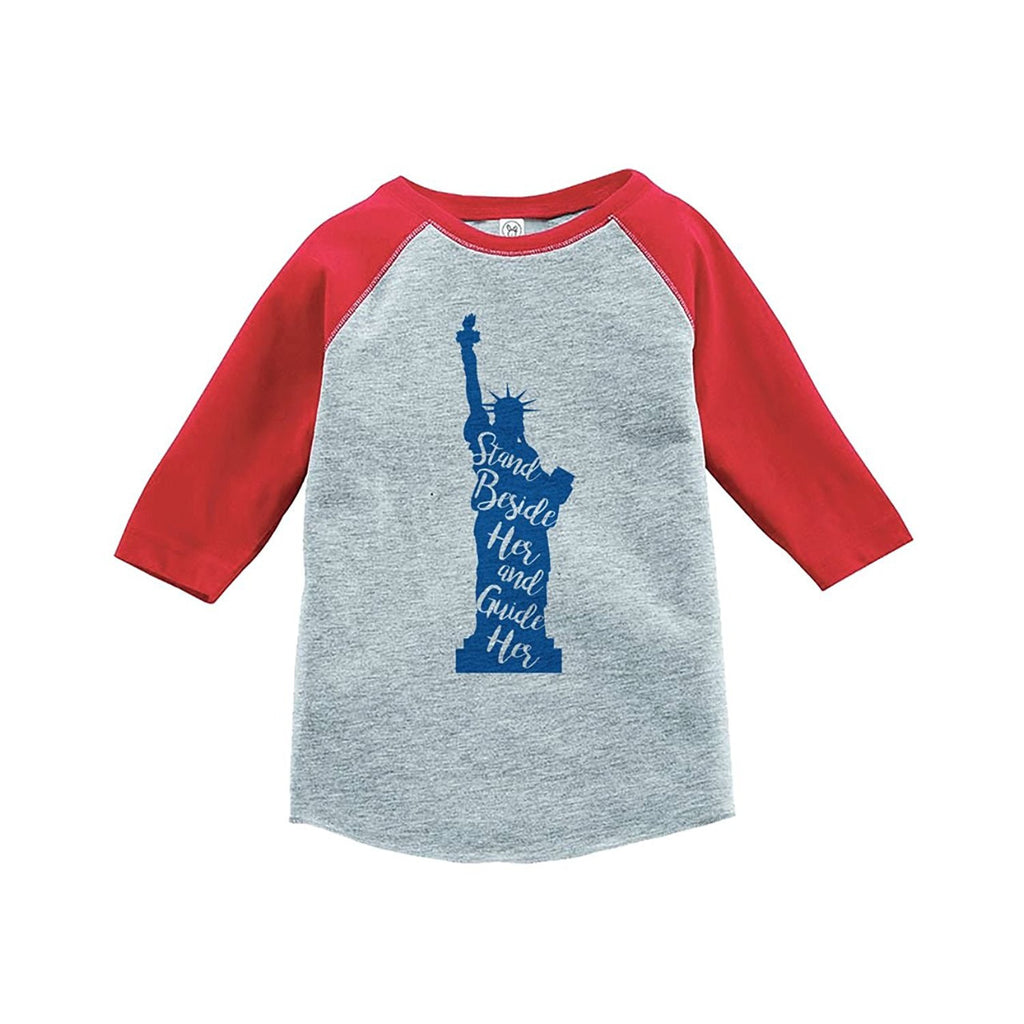 7 ate 9 Apparel Kids Statue of Liberty 4th of July Red Baseball Tee
