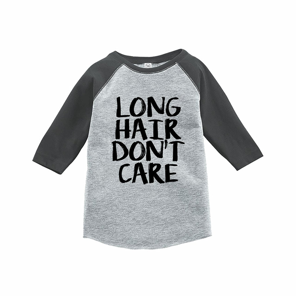 7 ate 9 Apparel Funny Kids Long Hair Don't Care Baseball Tee Grey