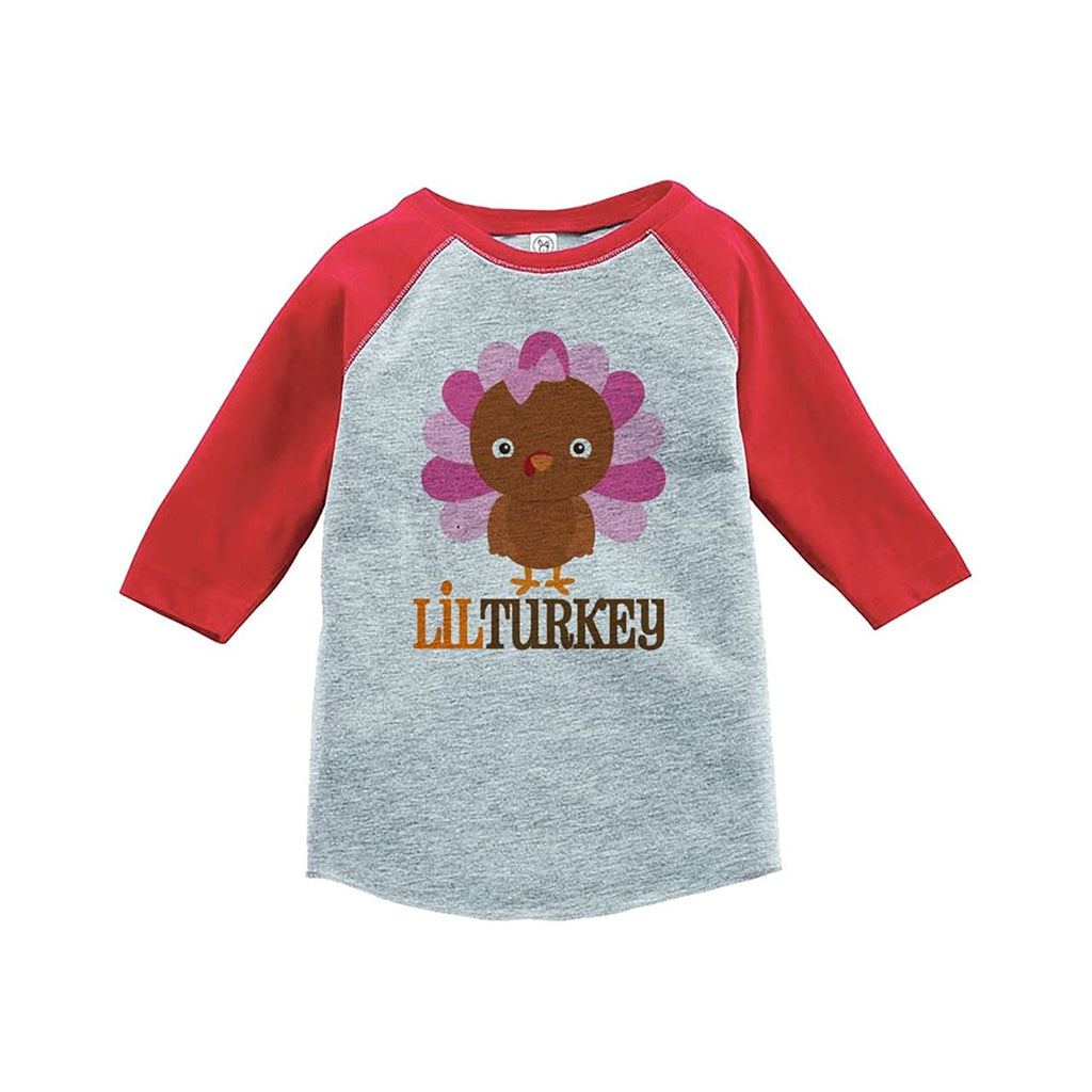 7 ate 9 Apparel Baby Girl's Little Turkey Thanksgiving Red Raglan