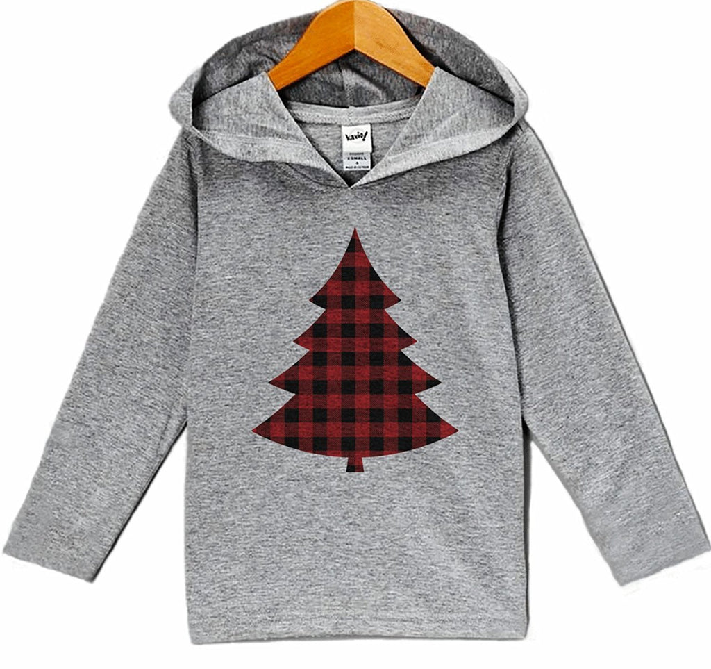 7 ate 9 Apparel Kid's Plaid Tree Christmas Hoodie