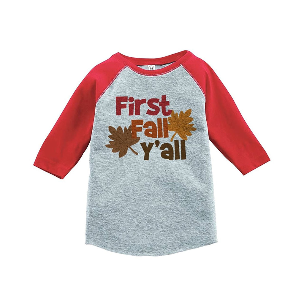 7 ate 9 Apparel Baby's First Fall Y'all Red Raglan