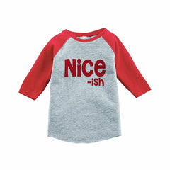 7 ate 9 Apparel Kids Nice ish Christmas Red Raglan Tee