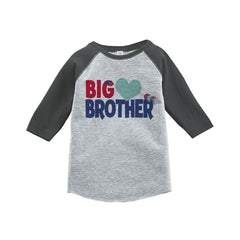 7 ate 9 Apparel Boy's Big Brother Happy Valentine's Day Grey Raglan