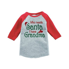7 ate 9 Apparel Youth Who Needs Santa Christmas Raglan Shirt Red
