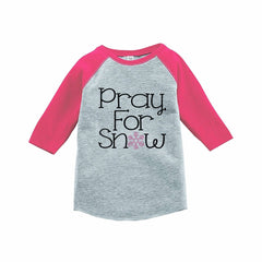7 ate 9 Apparel Girls Pray for Snow Winter Pink Raglan Tee