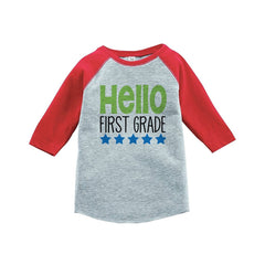 7 ate 9 Apparel Kids Hello First Grade School Red Baseball Tee