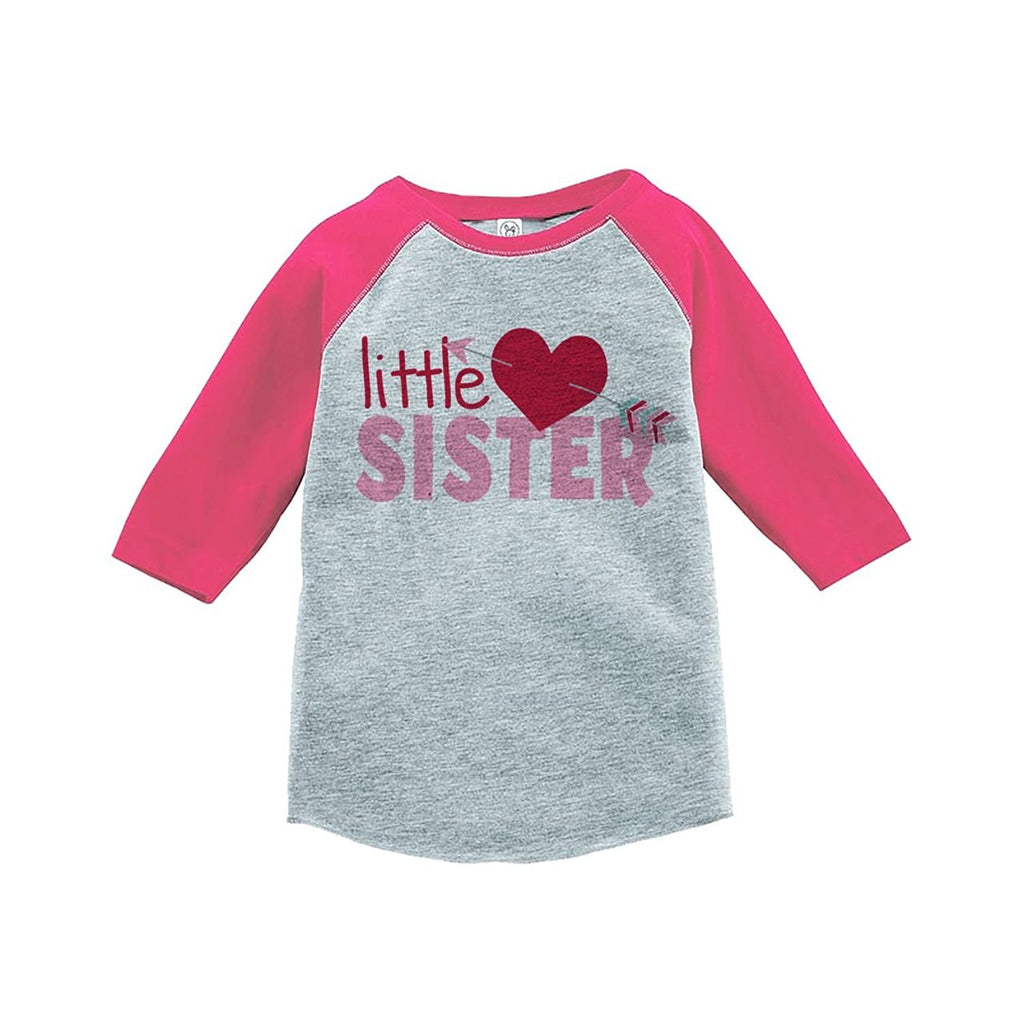 7 ate 9 Apparel Girl's Little Sister Happy Valentine's Day Pink Raglan