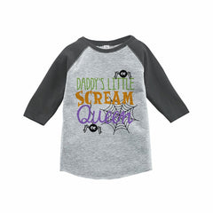 7 ate 9 Apparel Kids Scream Queen Halloween Raglan Tee Grey