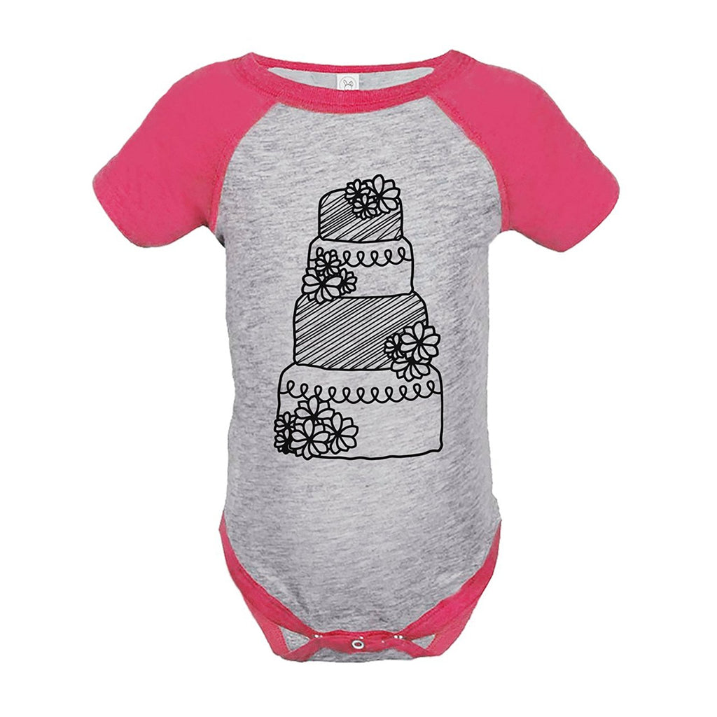 7 ate 9 Apparel Girl's Wedding Cake Pink Raglan Onepiece