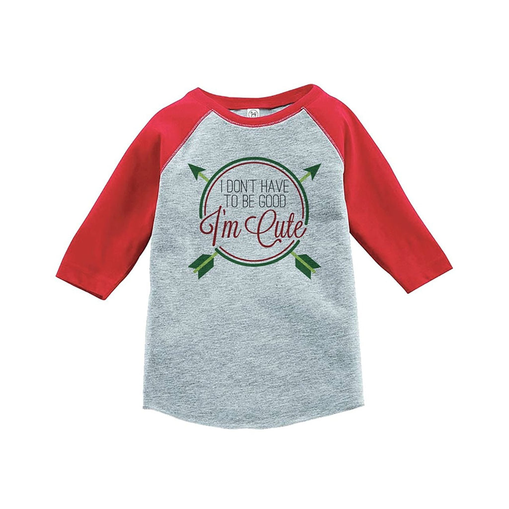 7 ate 9 Apparel Youth Funny Christmas Raglan Shirt Red