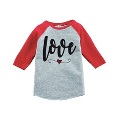7 ate 9 Apparel Kids Love Heart Happy Valentine's Day Red Raglan