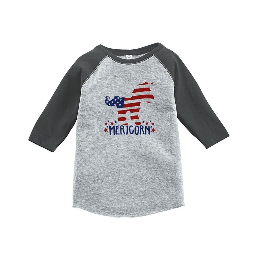 7 ate 9 Apparel Youth Unicorn 4th of July Grey Baseball Tee 5T