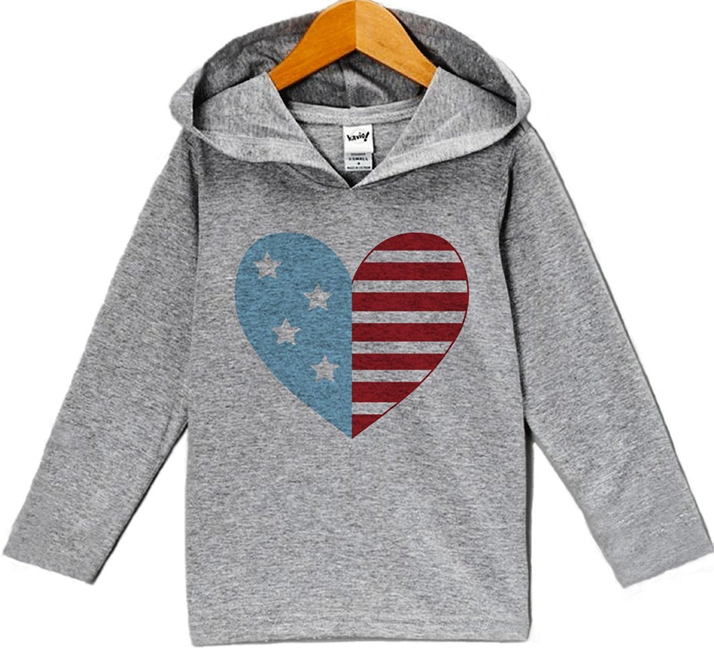 7 ate 9 Apparel Baby Boy's Flag Heart 4th of July Hoodie Pullover