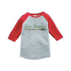7 ate 9 Apparel Baby's Give Thanks Thanksgiving Red Raglan