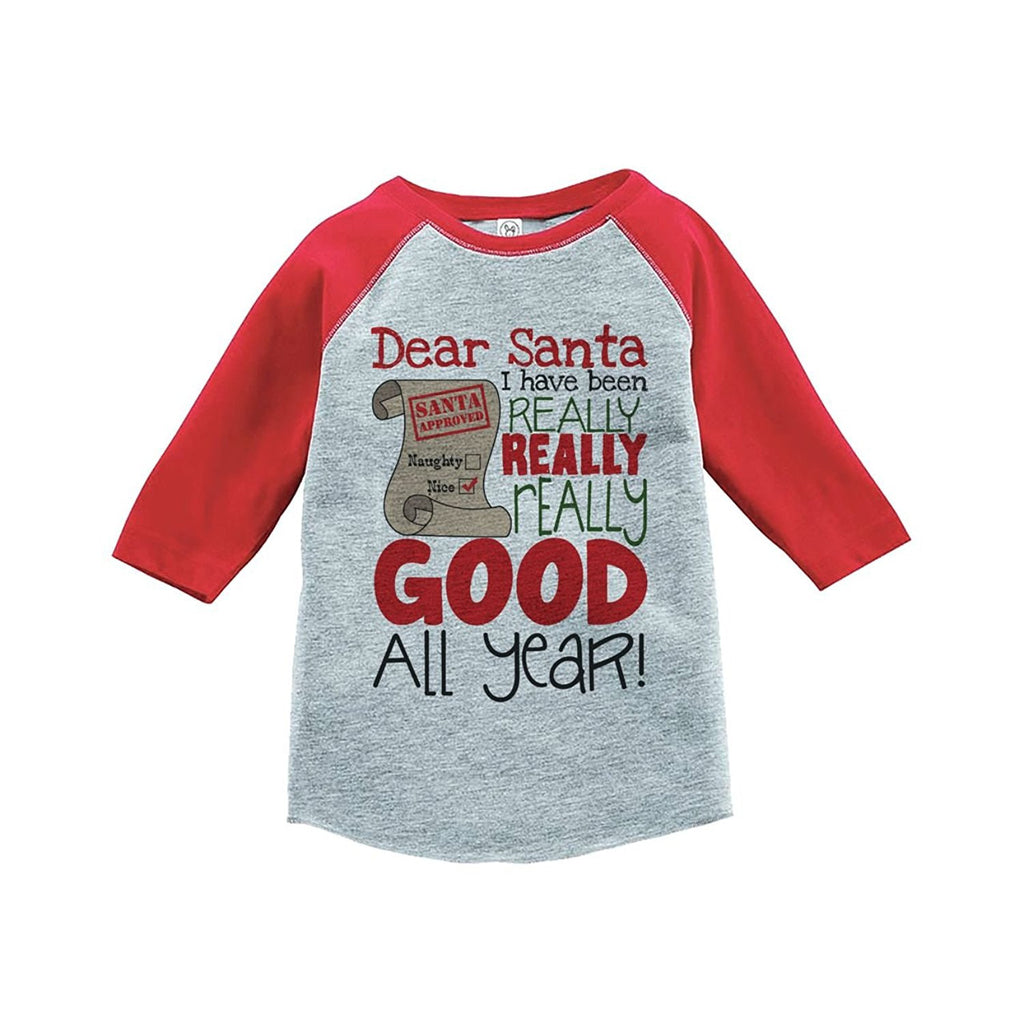7 ate 9 Apparel Youth I've Been Good All Year Christmas Raglan Shirt Red