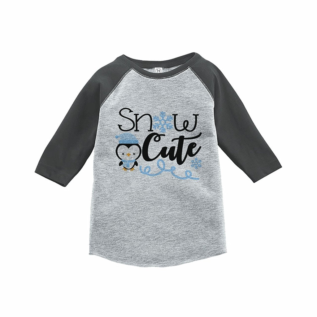 7 ate 9 Apparel Boy's Snow Cute Winter Grey Raglan Tee