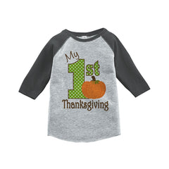 7 ate 9 Apparel Baby's 1st Thanksgiving Grey Raglan