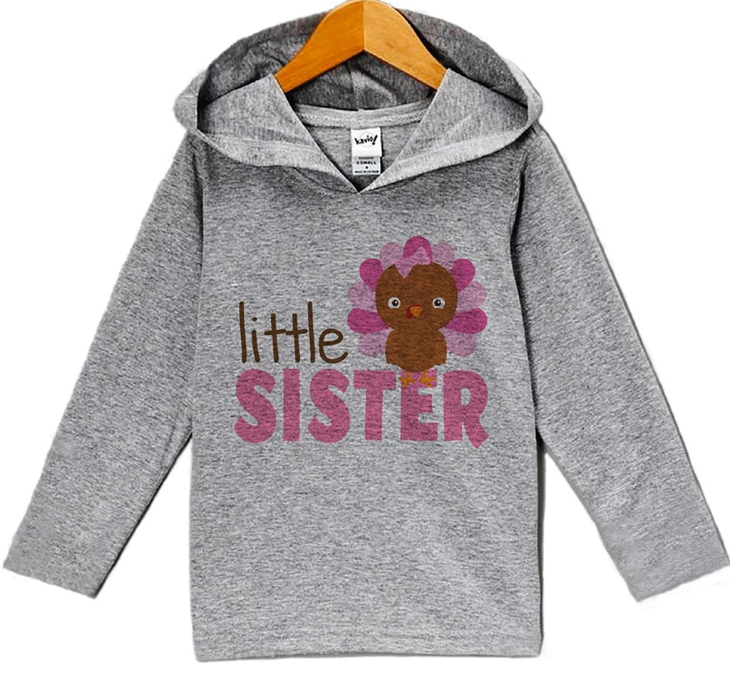 7 ate 9 Apparel Baby Girl's Little Sister Thanksgiving Hoodie