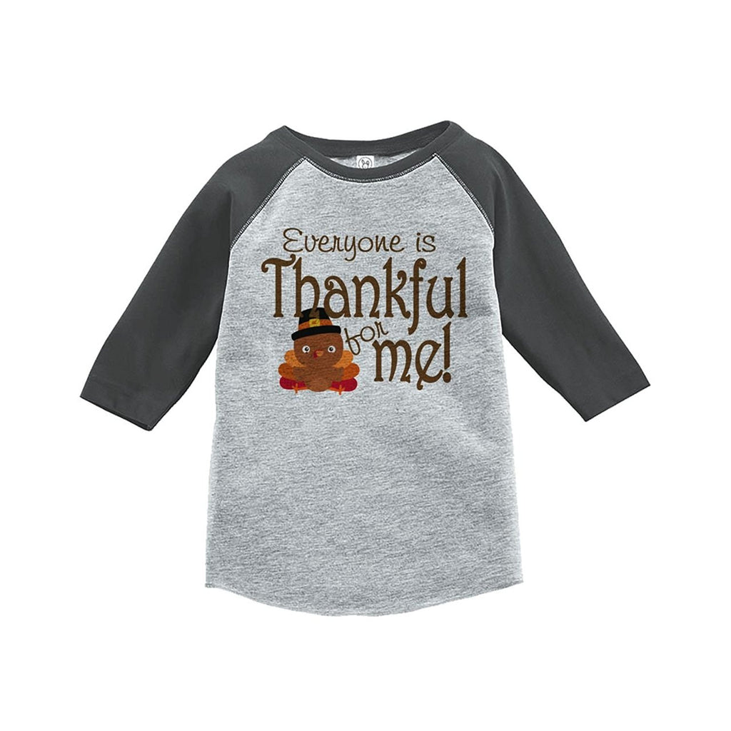7 ate 9 Apparel Baby's Thankful for Baby Thanksgiving Grey Raglan