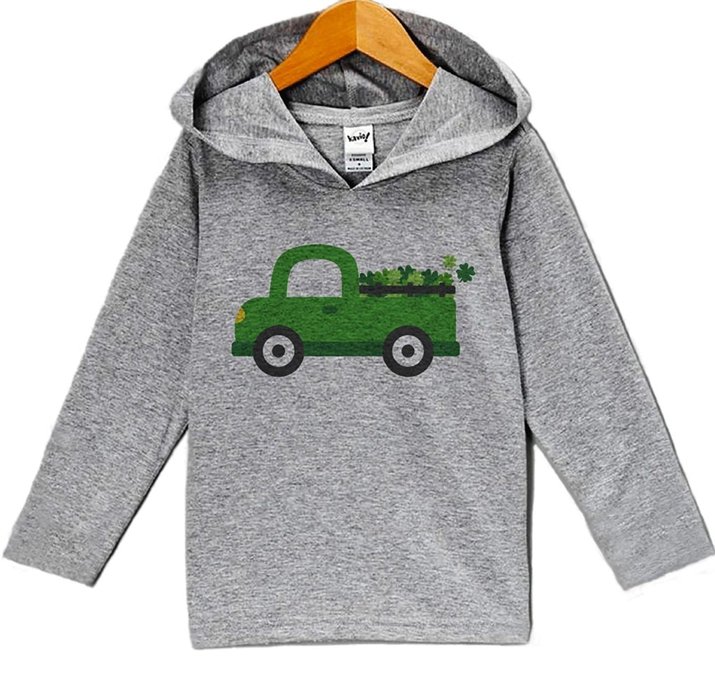 7 ate 9 Apparel Baby's Green Clover Truck St Patrick's Day Hoodie