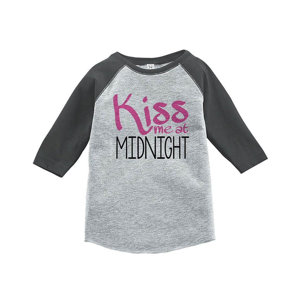 7 ate 9 Apparel Kids Kiss Me At Midnight Happy New Year Raglan Shirt